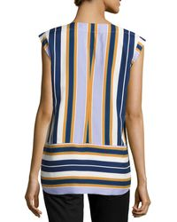 Halston Heritage Striped Capsleeve Silk Top - Lyst