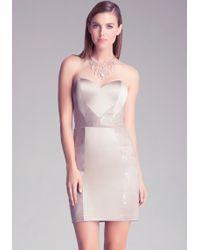 Bebe Lace Inset Bustier Dress - Lyst