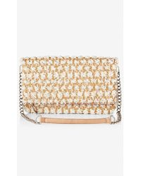 Express Straw Dot Fold-Over Convertible Clutch - Lyst