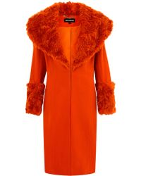 House Of Holland Orange Fur Collar Coat - Lyst