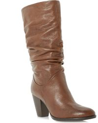 Dune Raddle Slouchy Leather Boots - Lyst