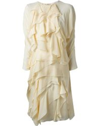 Chloé Beige Ruffled Dress - Lyst