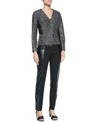 Tory Burch Imari Dotted Calf Hair Jacket Mabley Ponte Fauxleather Pants - Lyst