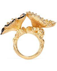 Alexander McQueen Crystal Duo Flower Skull Ring - Lyst