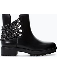 Zara Leather Bootie with Chain - Lyst