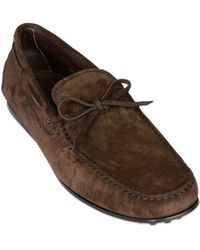 Tod's City Gommino Tie Suede Driving Shoes - Lyst
