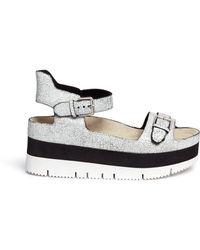 Ash 'Vera' Cracked Paint Suede Flatform Sandals white - Lyst