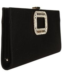 Roger Vivier Handbag Pilgrim Clutch Satin Buckle with Strass - Lyst
