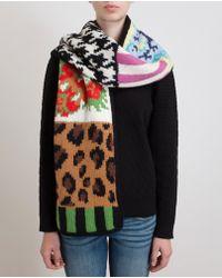 Tak.ori - Contrast Pattern Merino Wool Scarf - Lyst
