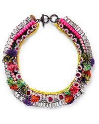Venna Diana Jewel Pompom Chain Collar Necklace - Lyst