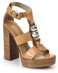Michael Kors Jayden Runway Leather Platform Sandals - Lyst