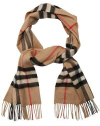 Burberry Camel Giant Check Cashmere Scarf - Lyst