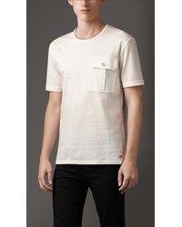 Burberry Linen and Cotton T-Shirt - Lyst