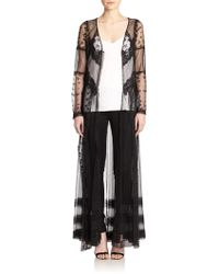 Haute Hippie Floral-Embellished Sheer Cloak - Lyst