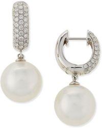 Belpearl - Avenue South Sea Pearl & Diamond Hoop Earrings - Lyst