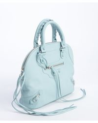 Balenciaga Sky Blue Distressed Leather Small Bowling Bag - Lyst