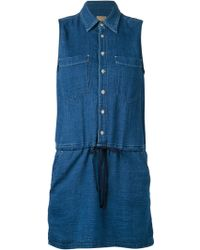 Mother Drawstring Denim Shirt Dress - Lyst