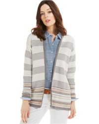 Tommy Hilfiger Striped Open-Front Cardigan - Lyst