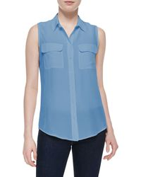 Equipment Signature Sleeveless Slim Silk Blouse - Lyst