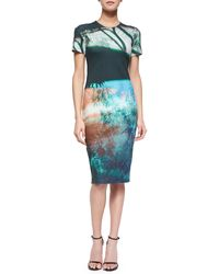 McQ by Alexander McQueen Abstract Tree-Print Sheath Dress - Lyst