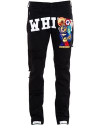 Off-White Distressed Jeans Embroidered With Badges - Lyst