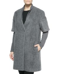 Elie Tahari Louisa Long Coat With Layered Sleeves - Lyst