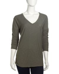James Perse Relaxed Vneck Slub Tee Alligator - Lyst