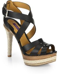 Ralph Lauren Collection Joely Leather Espadrille Sandals - Lyst