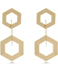 River Island Gold Tone Triple Hexagon Drop Earrings - Lyst