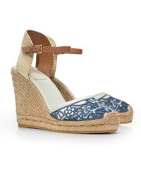 Tory Burch Lucia Lace Wedge Espadrille - Lyst