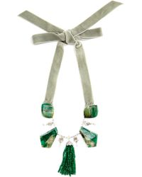 Nina Runsdorf - 18k White Gold and Emerald Necklace with Pave Diamonds - Lyst