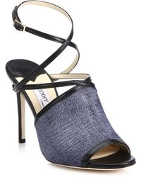 Jimmy Choo | Flora Denim Leather Sandal | Lyst