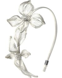 Colette Malouf Dogwood Double Flower With Crystal Headband - Lyst