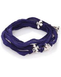 King Baby Studio   Sterling Silver & Silk X Wrap Bracelet   Lyst