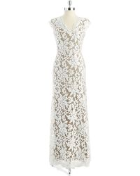 Tadashi Shoji Sequined Floral Lace Gown - Lyst