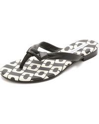 Diane von Furstenberg Melanie Print Thong Sandals - Black/Black/White - Lyst