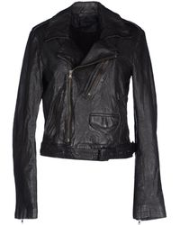 Diesel Black Gold Leather Outerwear - Lyst