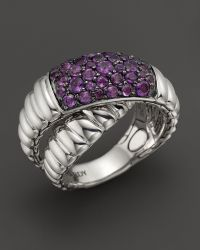 John Hardy Womens Bedeg Silver Lava Crossover Ring with Amethyst - Lyst