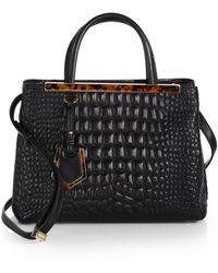 Fendi 2Jours Croc-Embossed-Leather Mini Tote - Lyst