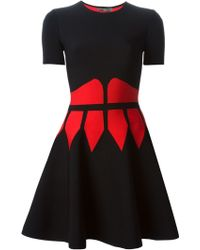 Alexander McQueen Contrast Corset Mini Dress - Lyst