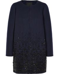 J.Crew Collection Beaded Woolblend Melton Coat - Lyst