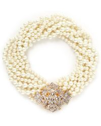 Kenneth Jay Lane Crystal Pavé Floral Clasp Faux Pearl Necklace - Lyst