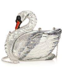 Judith Leiber Swarovski Crystal Swan Clutch silver - Lyst