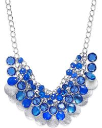 Style & Co. - Silver-tone Blue Bead Pailette Necklace - Lyst