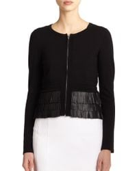 Nanette Lepore Leather Fringe-Trim Knit Cardigan - Lyst