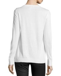 Dex - V-neck Chiffon-trimmed Sweater - Lyst