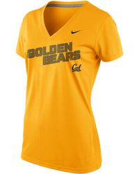 Nike Womens Shortsleeve California Golden Bears Drifit Vneck Tshirt - Lyst