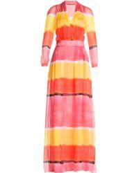 Alberta Ferretti Striped Silk Maxi Dress - Lyst