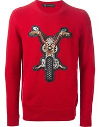 Versace Embellished Motorbike Patch Sweater - Lyst
