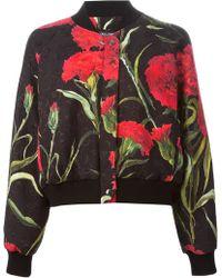 Dolce & Gabbana Carnation Print Bomber Jacket - Lyst